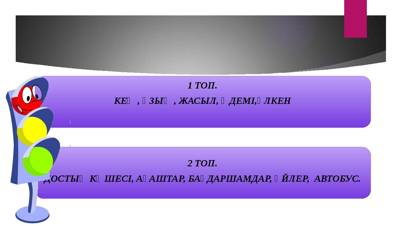 1 ТОП. КЕҢ , ҰЗЫҢ , ЖАСЫЛ, ӘДЕМІ,ҮЛКЕН 2 ТОП. ДОСТЫҚ КӨШЕСІ, АҒАШТАР, БАҒДАР...