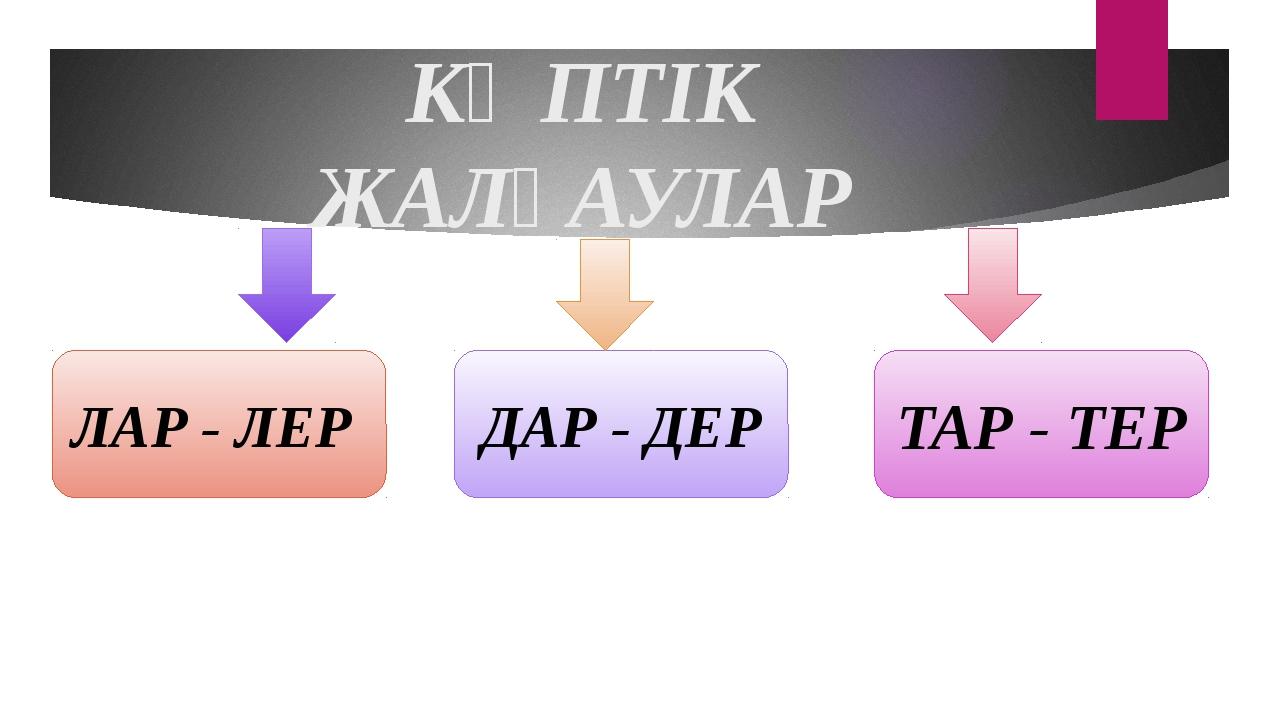 КӨПТІК ЖАЛҒАУЛАР ЛАР - ЛЕР ДАР - ДЕР ТАР - ТЕР
