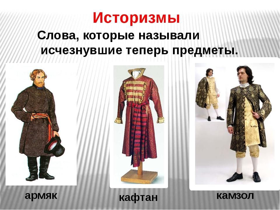 Историзмы Слова, которые называли исчезнувшие теперь предметы. армяк камзол к...