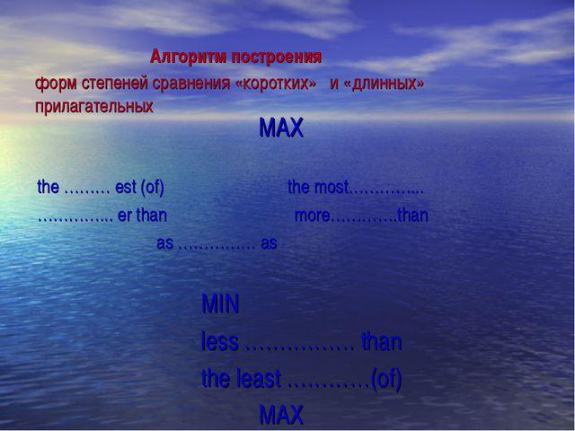 Алгоритм построения форм степеней сравнения «коротких» и «длинных» прилага...