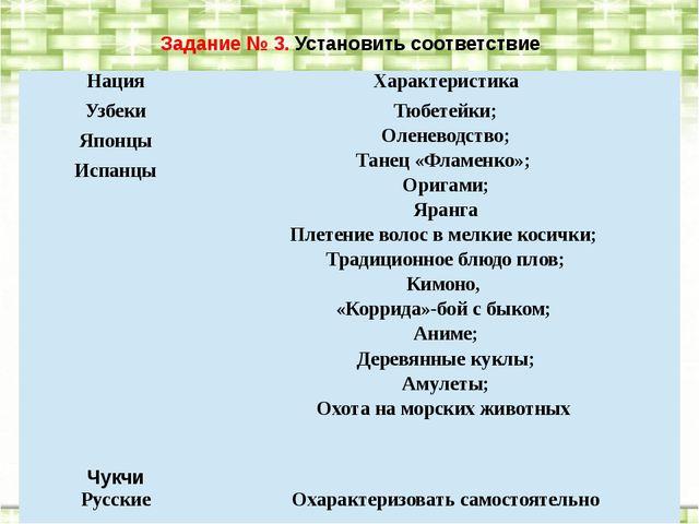 Задание № 3. Установить соответствие Нация Характеристика Узбеки Тюбетейки; О...