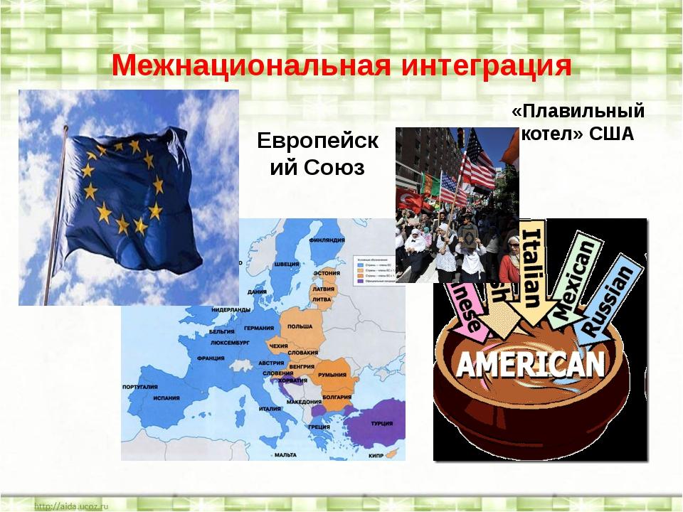 Межнациональная интеграция Европейский Союз «Плавильный котел» США