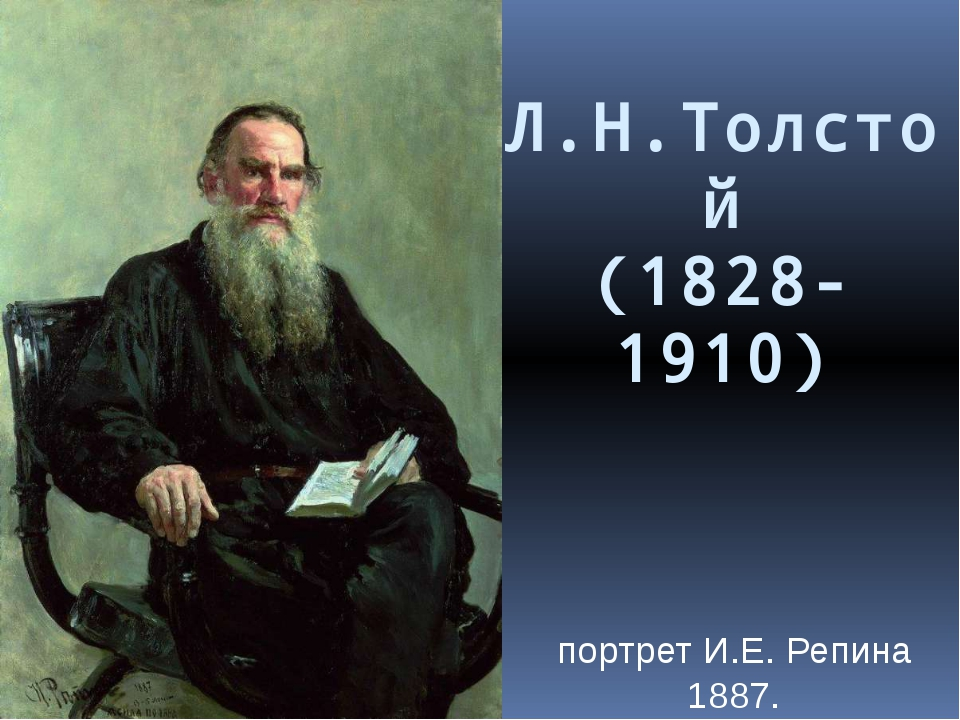 Л.Н.Толстой (1828-1910) портрет И.Е. Репина 1887.