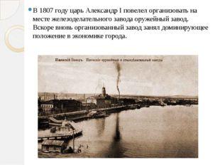 В 1807 году царь АлександрIповелел организовать на месте железоделательного