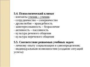 5.4. Психологический климат - контакты ученик – ученик: - сотрудничество – со