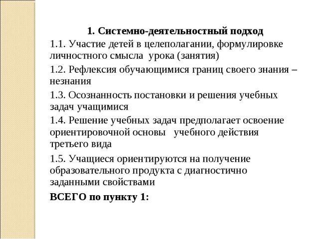 1. Системно-деятельностный подход 1.1. Участие детей в целеполагании, формули...