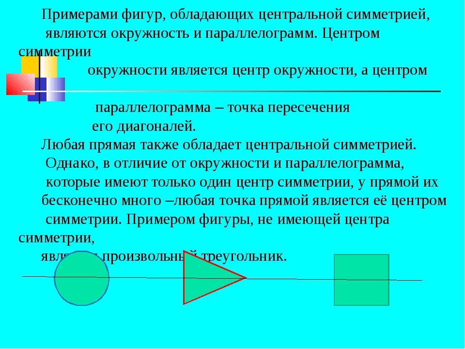 Примерами фигур, обладающих центральной симметрией, являются окружность и па...