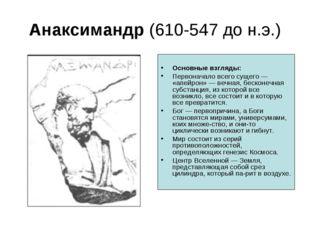 Анаксимандр (610-547 до н.э.) Основные взгляды: Первоначало всего сущего — «а