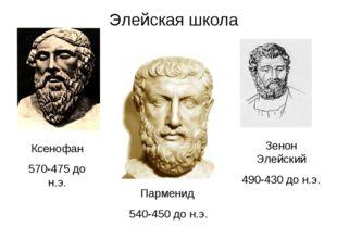 Элейская школа Ксенофан 570-475 до н.э. Парменид 540-450 до н.э. Зенон Элейск