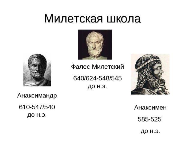 Милетская школа Фалес Милетский 640/624-548/545 до н.э. Анаксимандр 610-547/5...
