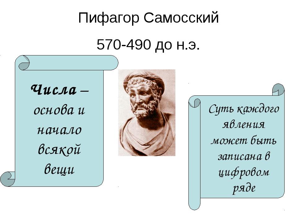 Пифагор Самосский 570-490 до н.э. Числа – основа и начало всякой вещи Суть ка...