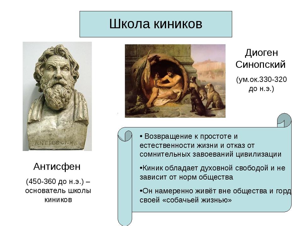 Школа киников Антисфен (450-360 до н.э.) – основатель школы киников Диоген Си...