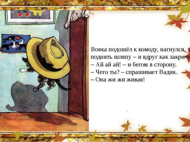 Вовка подошёл к комоду, нагнулся, хотел поднять шляпу – и вдруг как закричит:...