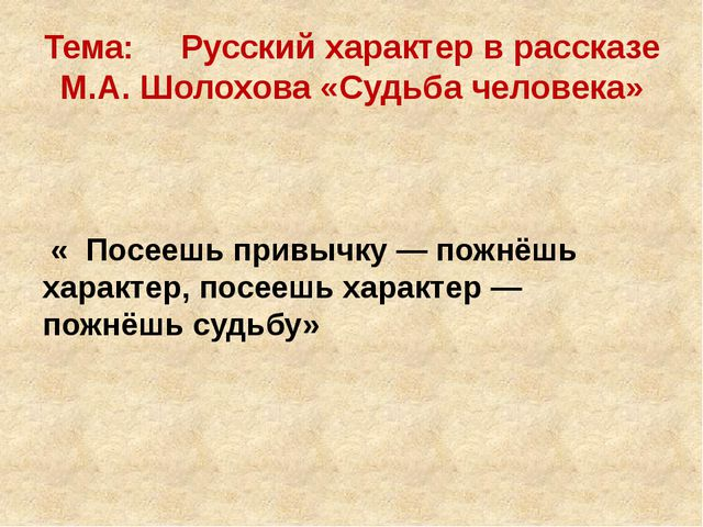 Тема: Русский характер в рассказе М.А. Шолохова «Судьба человека» « Посеешь п...
