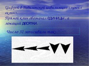Цифрой в Вавилонской цивилизации служил «клин». Прямой клин обозначал единицы