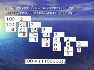 Вот таким способом можно перевести число из десятичной системы счисления в дв
