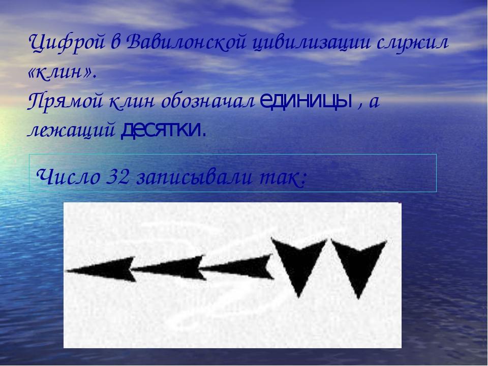 Цифрой в Вавилонской цивилизации служил «клин». Прямой клин обозначал единицы...