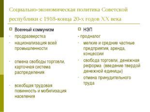 Социально-экономическая политика Советской республики с 1918-конца 20-х годов