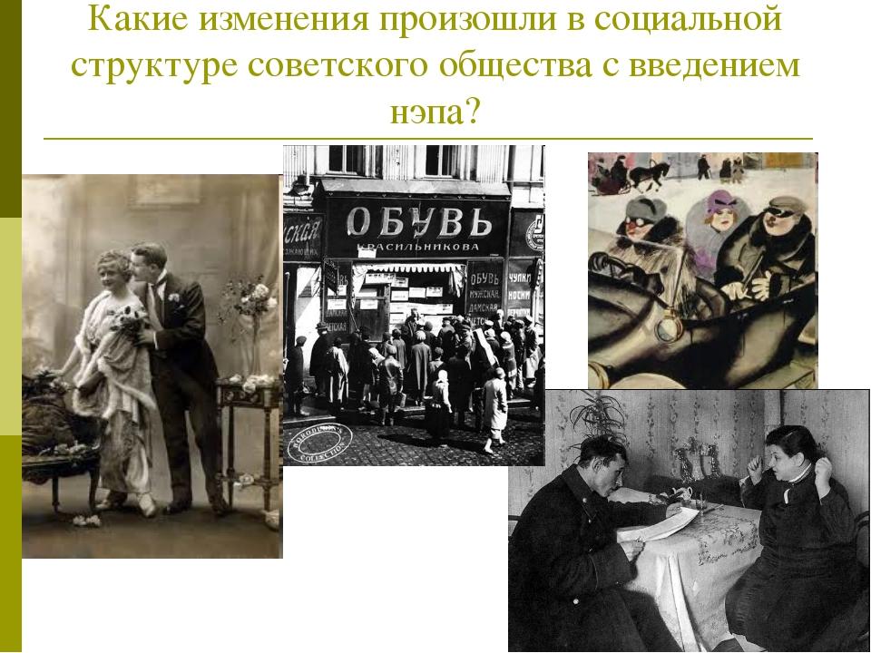 Какие изменения произошли в социальной структуре советского общества с введен...