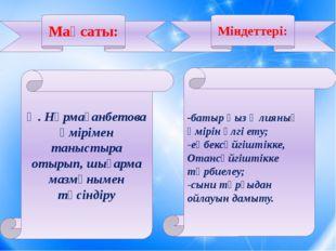 Ә. Нұрмағанбетова өмірімен таныстыра отырып, шығарма мазмұнымен түсіндіру -б