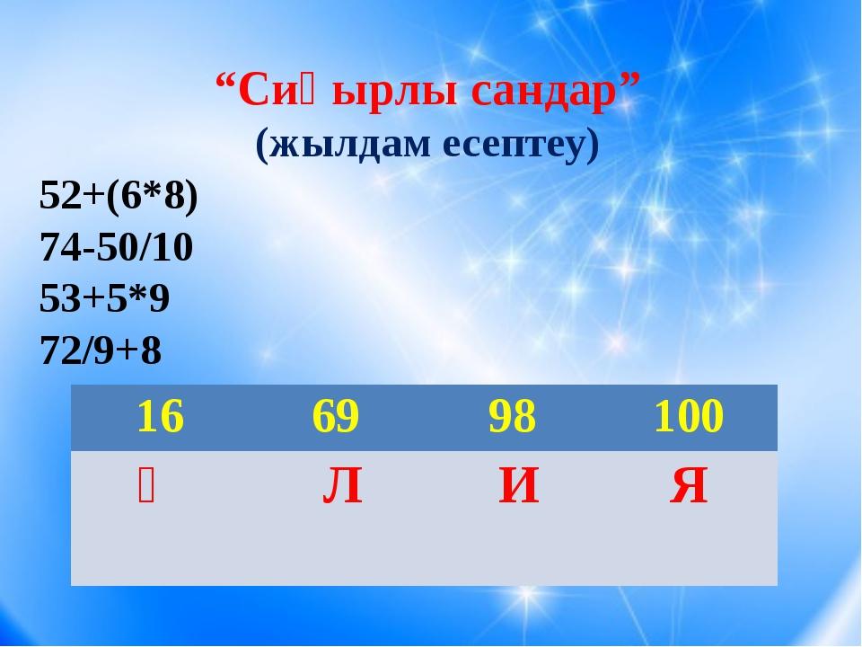 """Сиқырлы сандар"" (жылдам есептеу) 52+(6*8) 74-50/10 53+5*9 72/9+8 16 69 98 1..."