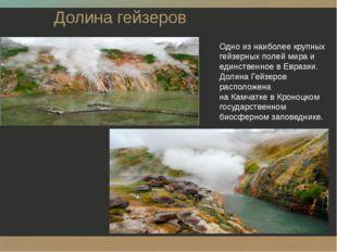 Долина гейзеров Одно из наиболее крупных гейзерных полей мира и единственное