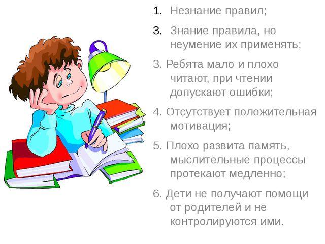 Незнание правил; Знание правила, но неумение их применять; 3. Ребята мало и...