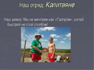Наш отряд: Калитвяне Наш девиз: Мы не мечтаем как «Газпром», копай быстрей не