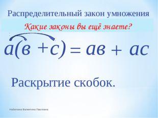 Распределительный закон умножения а(в +с) ав ас + = Раскрытие скобок. Набатки