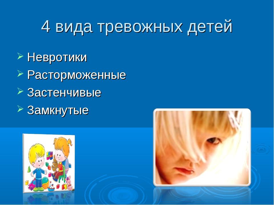 4 вида тревожных детей Невротики Расторможенные Застенчивые Замкнутые