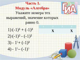 Часть 1. Модуль «Алгебра» Укажите номера тех выражений, значение которых рав
