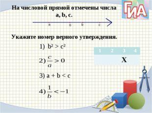 На числовой прямой отмечены числа а, b, c. Укажите номер верного утверждения.