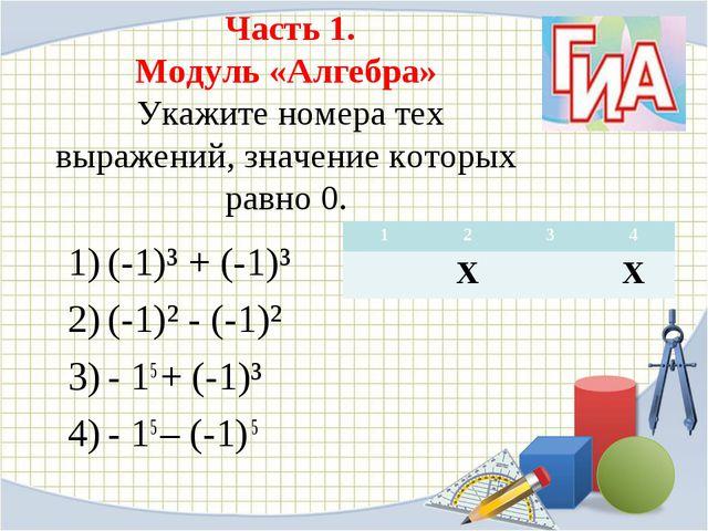 Часть 1. Модуль «Алгебра» Укажите номера тех выражений, значение которых рав...