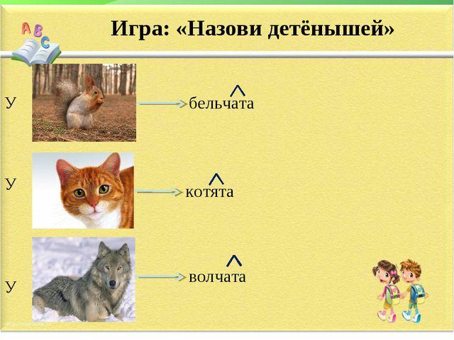 Игра: «Назови детёнышей» У У У бельчата котята волчата