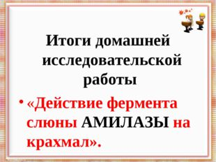 Итоги домашней исследовательской работы «Действие фермента слюны АМИЛАЗЫ на
