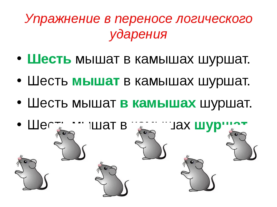 Упражнение в переносе логического ударения Шесть мышат в камышах шуршат. Шест...