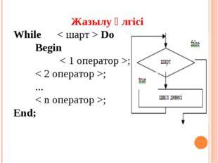 Жазылу үлгісі Whіle< шарт > Do Begіn  < 1 оператор >; < 2 оператор >; .