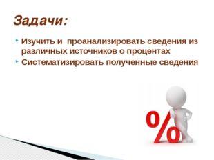 Изучить и проанализировать сведения из различных источников о процентах Систе