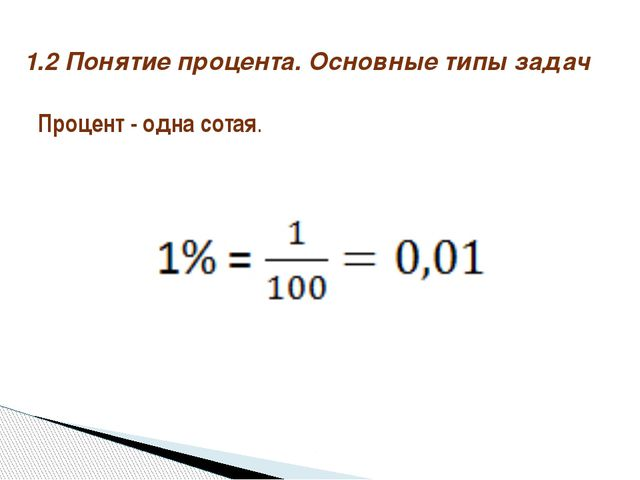Процент - одна сотая. 1.2 Понятие процента. Основные типы задач