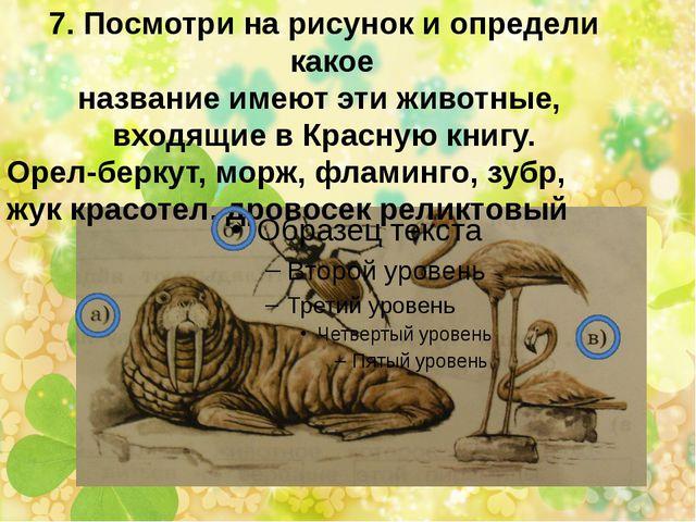 7. Посмотри на рисунок и определи какое название имеют эти животные, входящие...