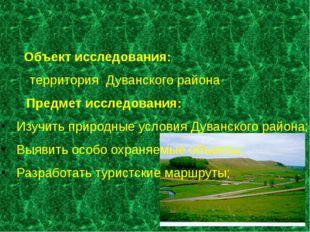 Объект исследования: территория Дуванского района Предмет исследования: Изуч