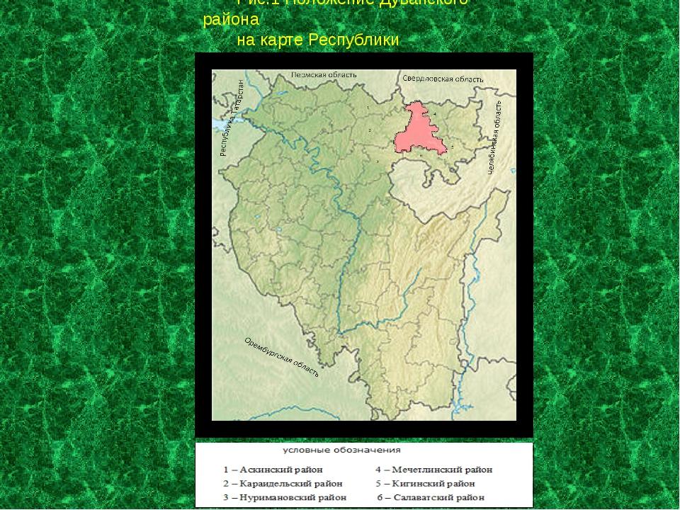 Маштаб 1:2500 000 Рис.1 Положение Дуванского района на карте Республики Башко...