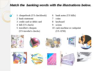 Match the banking words with the illustrations below. a b c d e f g h i j 1 c