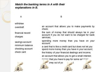 Match the banking terms in A with their explanations in B. A B withdraw overd