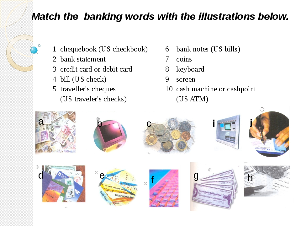 Match the banking words with the illustrations below. a b c d e f g h i j 1 c...