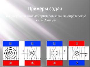 Примеры задач На рисунке несколько примеров задач на определение силы Ампера