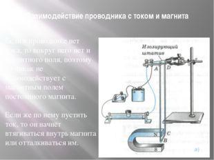 Взаимодействие проводника с током и магнита Если в проводнике нет тока, то во