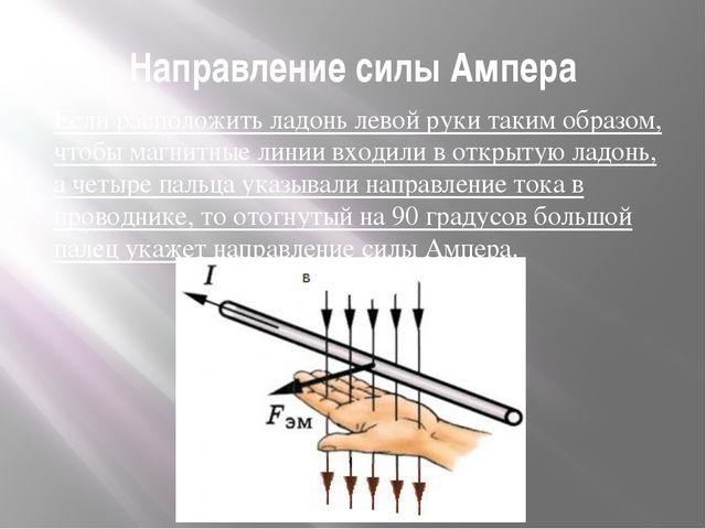Направление силы Ампера Если расположить ладонь левой руки таким образом, что...