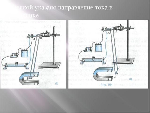 Стрелкой указано направление тока в проводнике