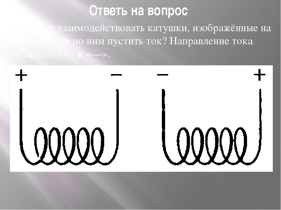 Ответь на вопрос Как будут взаимодействовать катушки, изображённые на рисунке...